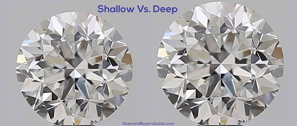 deep vs shallow cut diamond top view