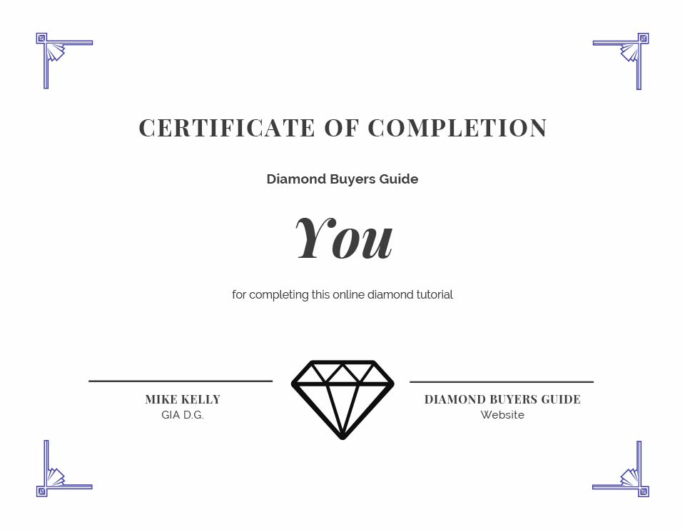 diamond certificate of completion